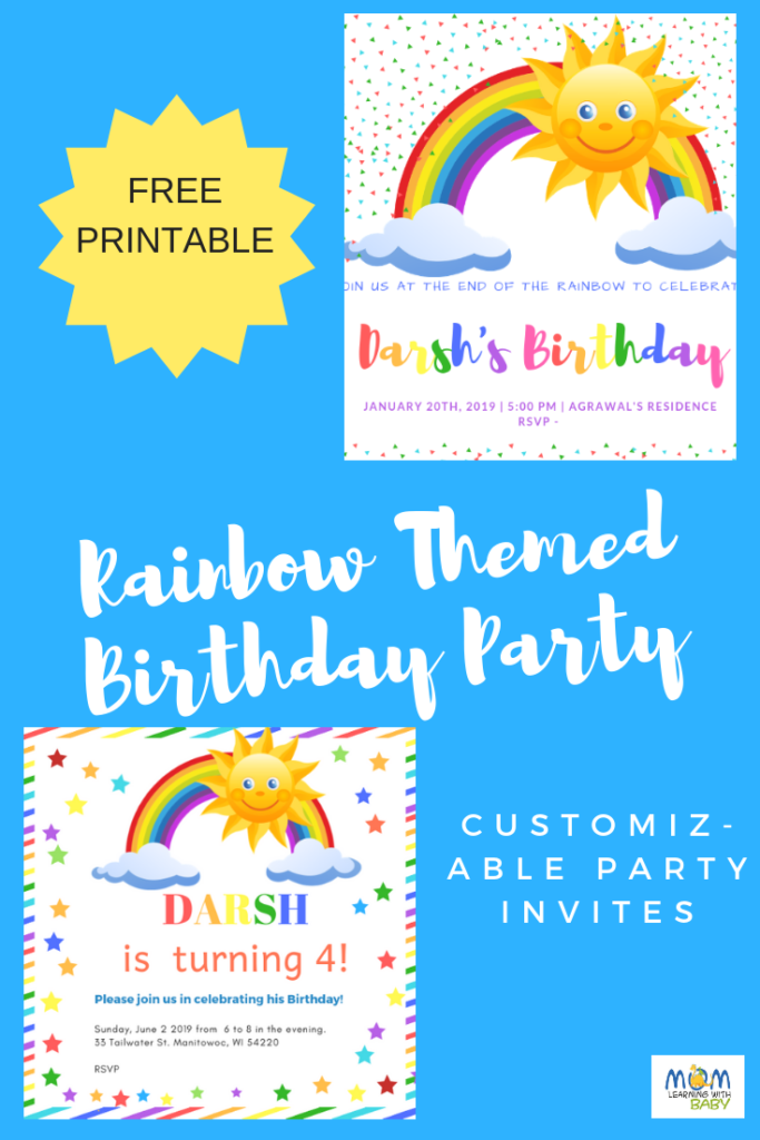 FREE Printable Customized Rainbow Birthday Party Invites