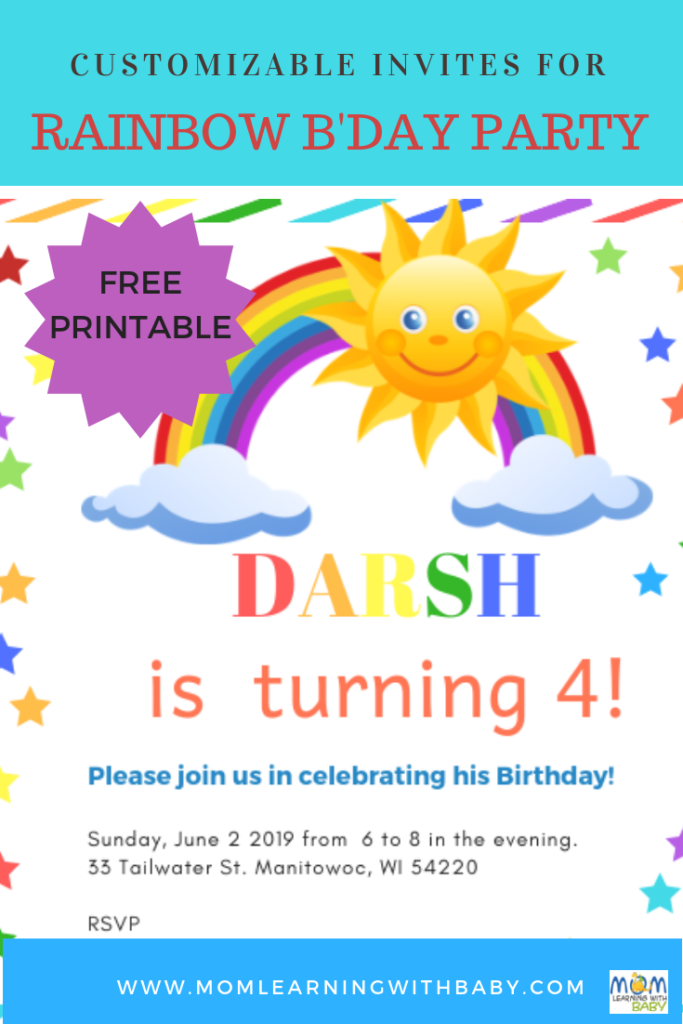 Free Printable Customizable Invites for Rainbow Themed Birthday Party