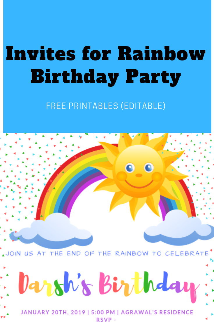 Invites for Rainbow Party – Free Printables