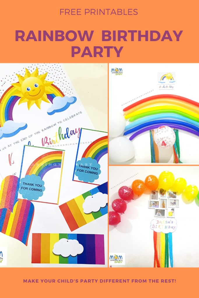 Rainbow Themed Birthday Party - Free Printables